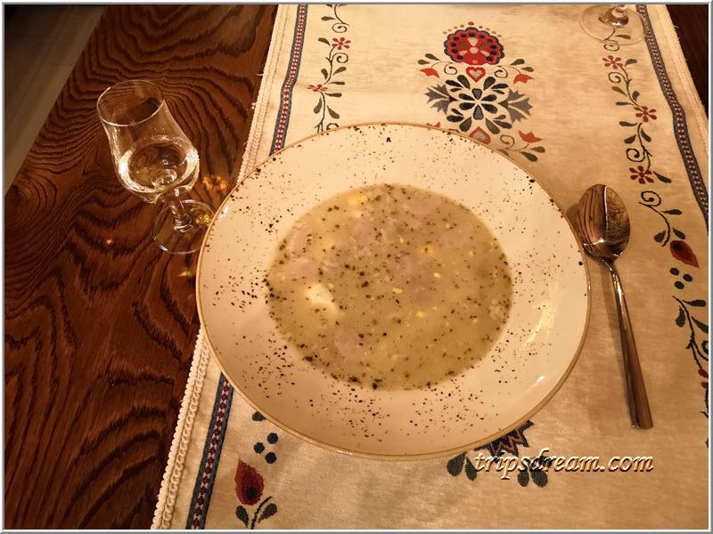 Польский суп журек в ресторации Sasienzi