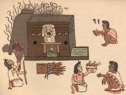 Картинка из кодекса майя с изображением темаскаля