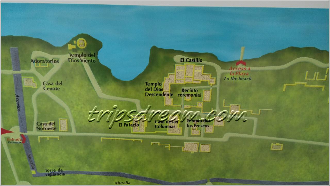Тулум - карта археологической зоны